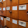 Wooden archive drawers, side view — Stock Photo