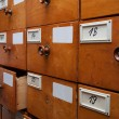 Wooden archive drawers, side view — Stock Photo #21744241