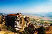 Meteora Monasteries, Greece, horizontal shot with blue sky and v — Stock Photo