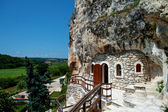 Orthodox monastery excavated in the rocks view from above — Stock Photo