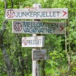Treking trail signs, vertical shot — Stock Photo