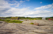 Small houses near the see in Norway — Stock Photo