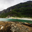 Long exposure panoramic shot of the beach Mjelle in Northern Nor — Foto de Stock   #38881771