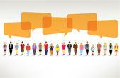 Un gran grupo de personas se reúnen y hablan juntos — Vector de stock