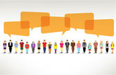 Un grande gruppo di persone si radunano e parlare insieme — Vettoriale Stock