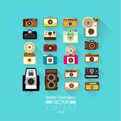 Vintage Flat Camera Vector Icon — Stock Vector