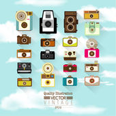 Vintage Flat Camera Vector Icon — Stock Vector