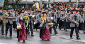 MUNICH, BAVARIA, GERMANY 2012 September 22 musicians dressed in national costumes take part into Oktoberfest solemn procession. Oktoberfest is annually beer festiva — Stock Photo