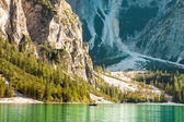 Tranquil summer Italian dolomites mountain lake — Stock Photo