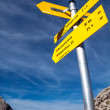 Yellow sign-board against mountain scenery — Stock Photo #22077429