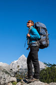 Sport woman in mountains — Stock Photo