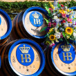 Beer barrels on Oktoberfest — Stock Photo