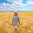 Beautiful little girl in a meadow — Stock Photo