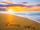 I love you on sand beach — Stock Photo