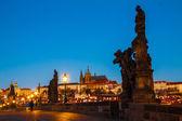 Prague Charles bridge in the morning — Stockfoto