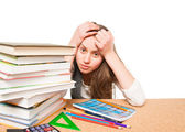 Nervous college student before exams — Stock Photo