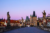 Prague Charles bridge in the morning — Stock Photo