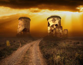 Halloween background with old towers and skulls — Stock Photo