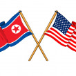 America and North Korea alliance and friendship — Stockfoto