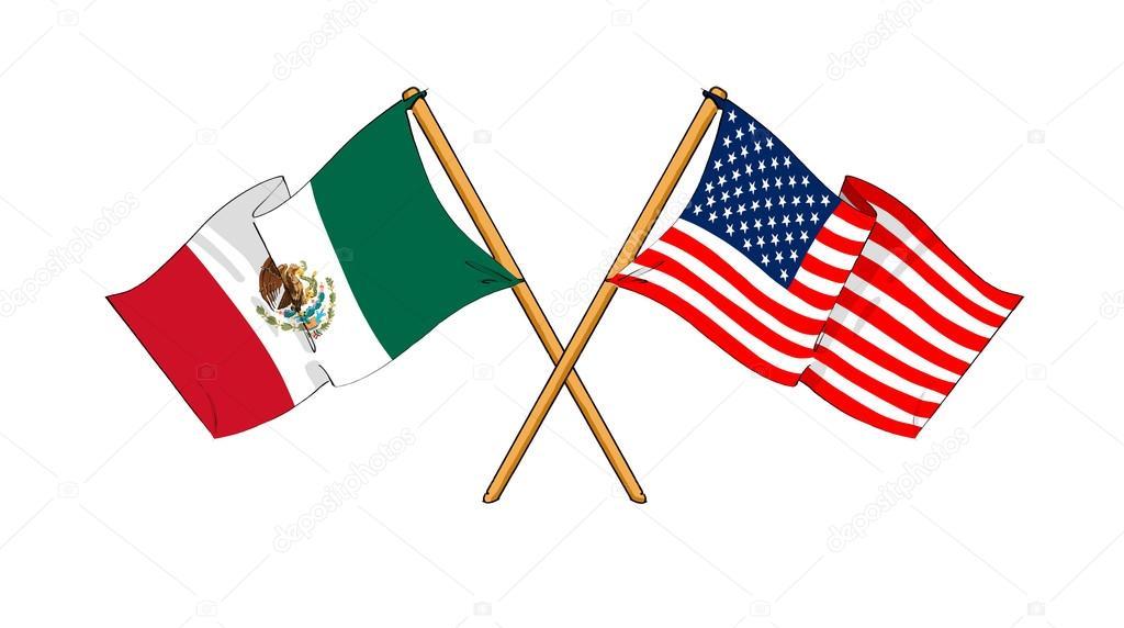 Mexico y Estados Unidos Banderas México y Estados Unidos