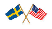 America and Sweden alliance and friendship — Stock Photo