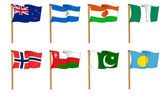 Hand-drawn Flags of the World - letter N & P — Stock Photo