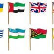 Hand-drawn Flags of the World - letter U & V — Stock Photo