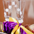 Постер, плакат: Wine glasses for newlyweds close up
