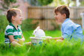 Wo happy boys play with real easter bunny o — Stock Photo