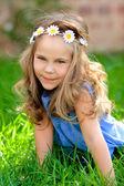 Cute little model girl outdoor — Stock Photo