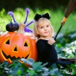 Little girl in halloween costume with candy and jack pumpkin — Stock Photo
