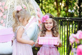 Girl giving birthday gift — Stock Photo
