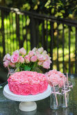 Cake and party table — Stock Photo