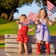 Little girls waving American flag — Stock Photo #46061319