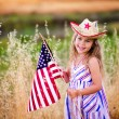 Little girl waving American flag — Stock Photo #46061775