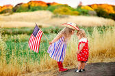 Little girls celebrating 4th july — Stock Photo