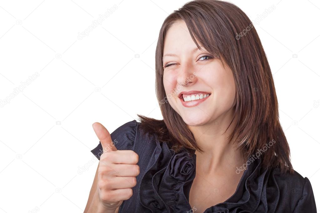 A businesswoman with thumb up sign isolated on white background — Stock Photo #13949844