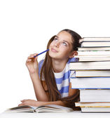 Analyzing student girl — Stock Photo