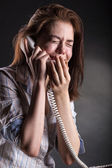 Woman with a phone — Stock Photo