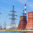 Thermal power station and power line — Stock Photo