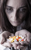 Woman with pills — Foto Stock