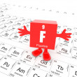 Fluorine on periodic table — Stock Photo