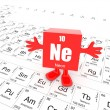Neon on periodic table — Stock Photo