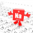 Sodium on periodic table — Stockfoto