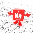 Sodium on periodic table — Stock Photo