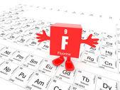 Flúor sobre tabla periódica — Foto de Stock