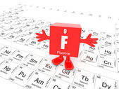 Fluorine on periodic table — 图库照片