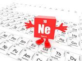 Neon on periodic table — Stock Photo