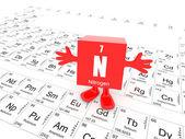 Nitrogen on periodic table — Stock Photo