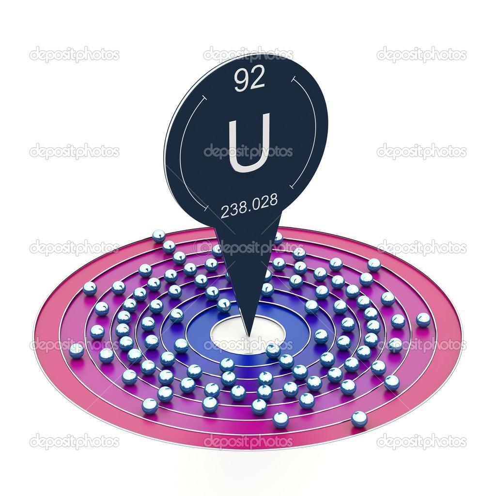 Atomo di uranio foto stock conceptw 24154543 - Tavola periodica configurazione elettronica ...